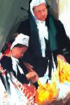 Fanch Moal - Mere et Fille - Acrylique 73 x 50