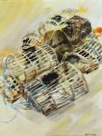 Fanch Moal - Les casiers - Acrylique  46 x 65